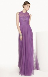 A-Line Bandage Formal High-Neckline Lace Long Dress