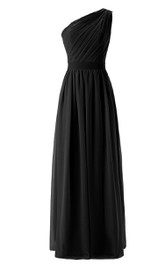 One-shoulder Asymmetrical Ruched Long Bridesmaid Dress