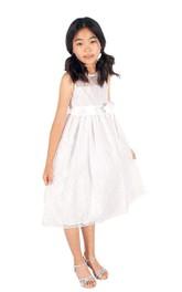 Jewel-Neck Sleeveless Tea-length Lace Flower Girl Dress With bow