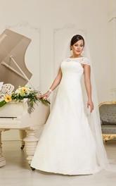 Jewel-Neckline Lace-Up Floor-Length A-Line Lace Cap-Sleeve Dress