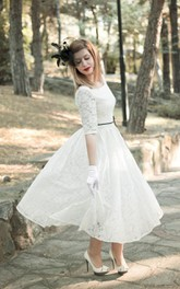 Bridal Satin Ribbon Half Illusion Sleeve 3-4-Length Jewel Dress