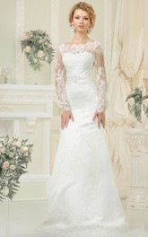 Illusion-Sleeve Satin Sash Beading Floor-Length Sheath Lace Dress