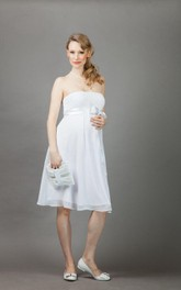 Strapless Knee-length Empire short A-line Dress With bow And cape
