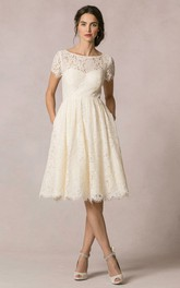 Bateau Short Sleeve A-line Wedding Dress With Keyhole back