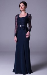Lace Illusion Long Sleeve Sheath Dress With Keyhole And Peplum