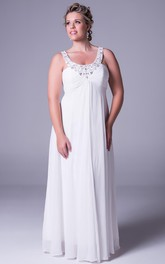 Strapped Chiffon Empire plus size Dress With Beading And Zipper