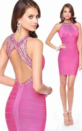 Pencil Short Jewel-Neck Sleeveless Keyhole Dress With Beading