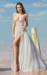 A-line Floor-length V-neck Sleeveless Tulle Low-V Back Dress