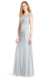 Sheath Beaded Cap Sleeve V-Neck Tulle Bridesmaid Dress With Pleats
