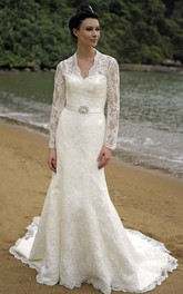 V-neck Long Sleeve lace Wedding Dress With Illusion And sweep train