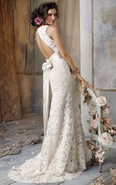 V-Neckline Bow At Back Sleeveless Delicate Lace Gown