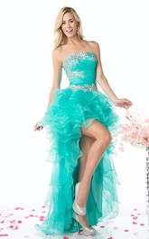 A-Line Tiered Jeweled High-Low Strapless Organza Sleeveless Backless Dress