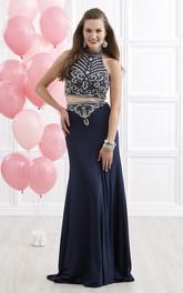 Column Jeweled Long High-Neck Jersey Sleeveless Illusion Dress