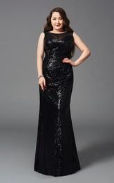 Mermaid Floor-length Scoop Sleeveless Sequins Pleats Keyhole Dress