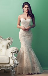 Mermaid Sweetheart Lace Appliqued Backless Tulle Wedding Dress With Court Train