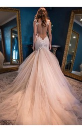 V-neck Lace Tulle  Sleeveless Wedding Dress