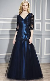 V-neck 3-4-sleeve Satin Tulle Dress With Appliques