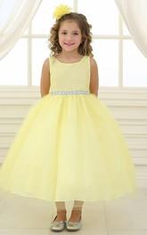 Satin Tulle Jeweled Flower Girl Dress