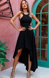 A Line Jersey Halter Sleeveless High-Low Formal Cocktail Dress With Straps
