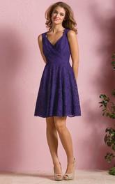 V-neck Sleeveless Lace short Bridesmaid Dress With Keyhole back