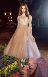 A-Line Floral Appliqued Tea-Length High-Neck Tulle Half-Sleeve Illusion Dress