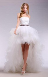 High-Low Satin Ribbon Sleeveless Strapless Tulle Dress