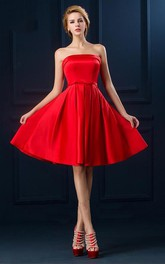Simple Sheath Strapless Corset Knee Length Dress