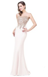 Fishtail Lace Sleeveless Shining Satin Gown