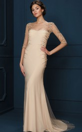 Illusion Bateau Sheath Evening Dress With Crystal Detailing