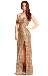 Sweetheart Front-split Sequined Floor-length Backless Dress