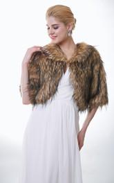 Half Sleeve Brown And Black Faux Fur Wedding Jacket