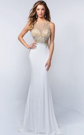 Scoop-neck Sleeveless Sheath Jersey Prom Dress With Beading And Illusion