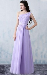 One-shoulder Sleeveless Appliqued A-line Chiffon Dress With Jeweled Waist