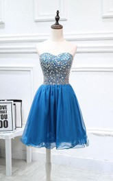 Mini Strapless Chiffon Dress With Beading