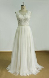 V-neck Sleeveless Tulle A-line Wedding Dress With Lace And Sweep Train
