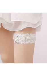 Beaded Pearl Lace Applique Stretch Sexy Garter Within Within 16-23inch