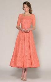 A-Line Tea-Length Half Sleeve Jewel Neck Beaded Lace Prom Dress