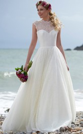 beach Jewel Neckline Sleeveless Lace Wedding Dress With Illusion back