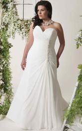 Sweetheart Criss cross Chiffon plus size wedding dress With Ruching And Beading