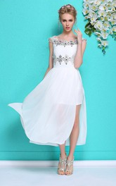 White Rhinestoned Formal Summer Hot Chiffon Gown