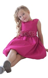 Bateau Cap-sleeve short Pick Up Flower Girl Dress