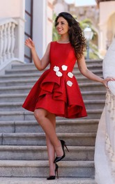 Sleeveless A-line Knee-length Bateau Flower Ruffles Satin Homecoming Dress