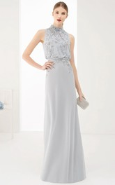 High Neck Sleeveless Jersey Dress With Beading And back bow