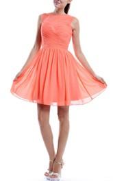 Jewel-Neck Sleeveless Chiffon A-line short Dress With Criss cross