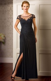 Scoop-neck Cap-sleeve Chiffon Dress With Lace And Split Front