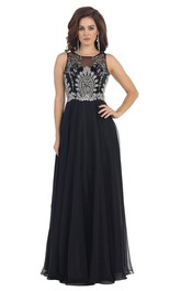 Scoop-neck Sleeveless Chiffon A-line Dress With Beading And Illusion top
