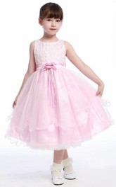 Lace Jeweled 3-4-Length Organza Flower Girl Dress