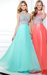 Scoop-neck Sleeveless Beaded Long Prom Dress With Illusion
