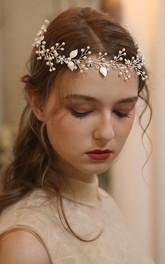 Silver Delicate Floral Beaded Headbands