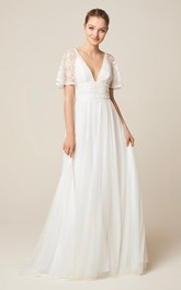 Charming Open Back Short Sleeve Wedding Dress With Court Train